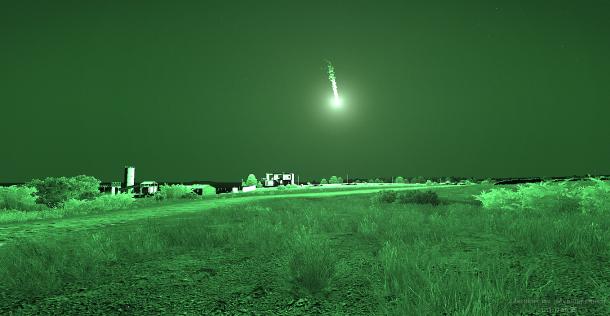 Effet d'une fusée éclairante vue avec des NVG.