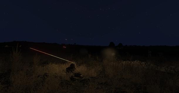 Passage d'une munition traçante.