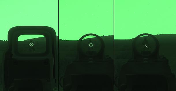 En étant équipé de NVG, il est possible d'utiliser de façon optimale la quasi-totalité des optiques de courte et moyenne portée montées sur les armes.