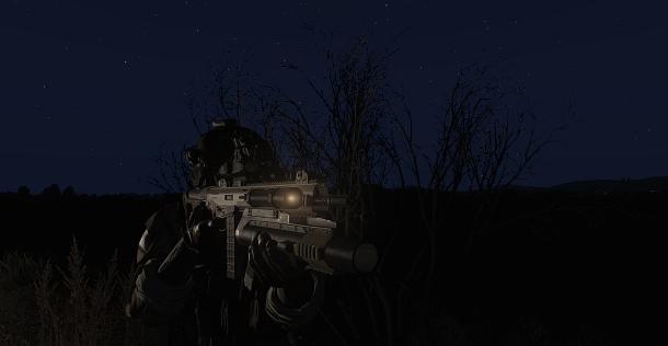 Fusil d'assaut équipé d'une lampe torche latérale.